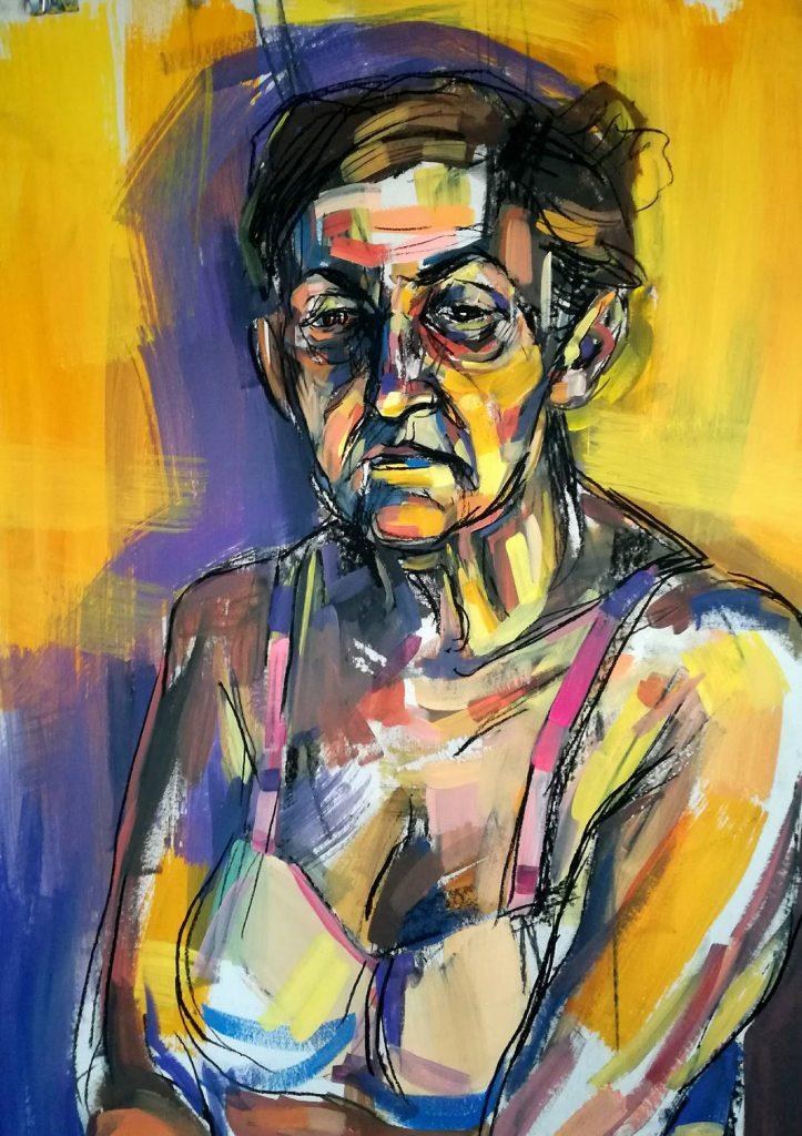 Portret kobiety farba akrylowa