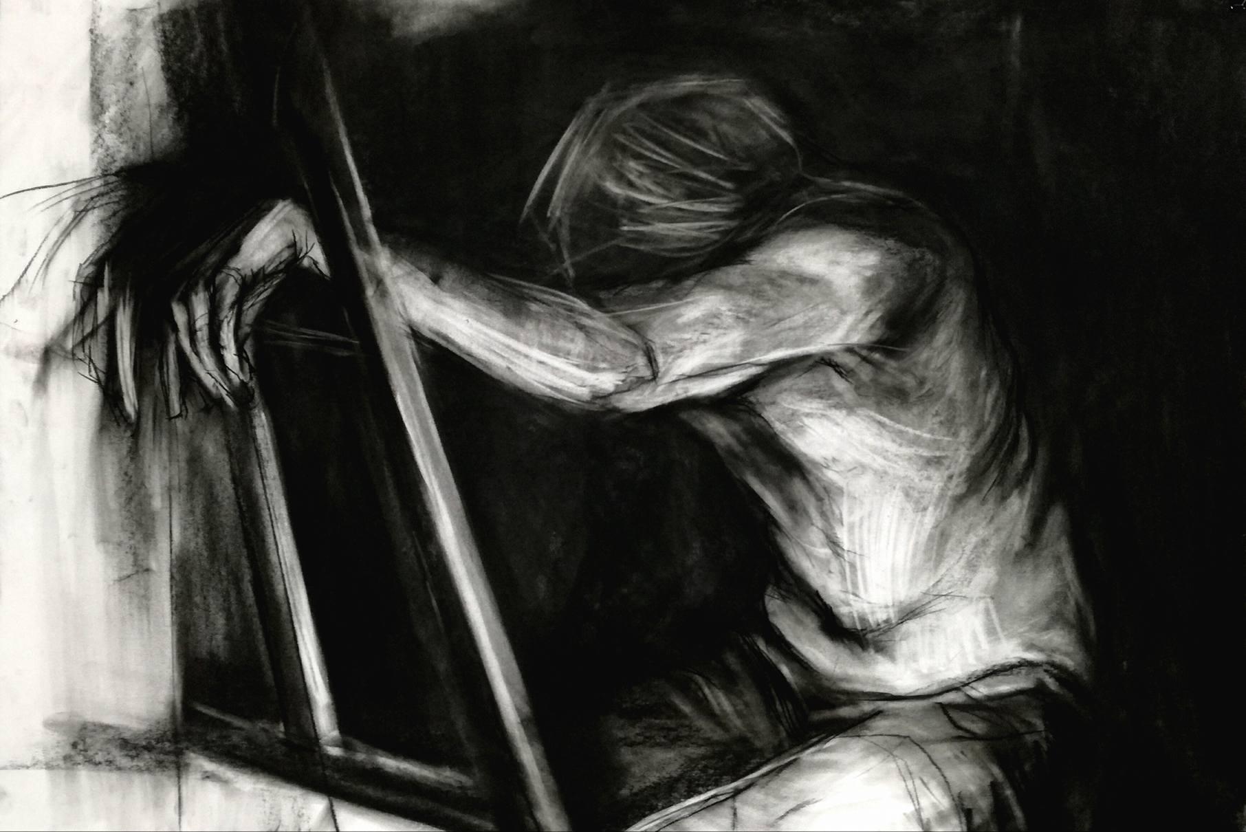 ekspresyjny rysunek węglem
