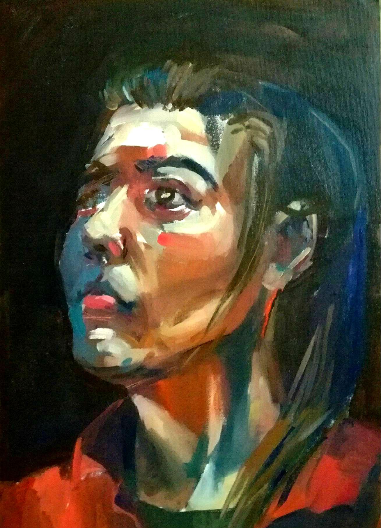 portret w technice olejnej