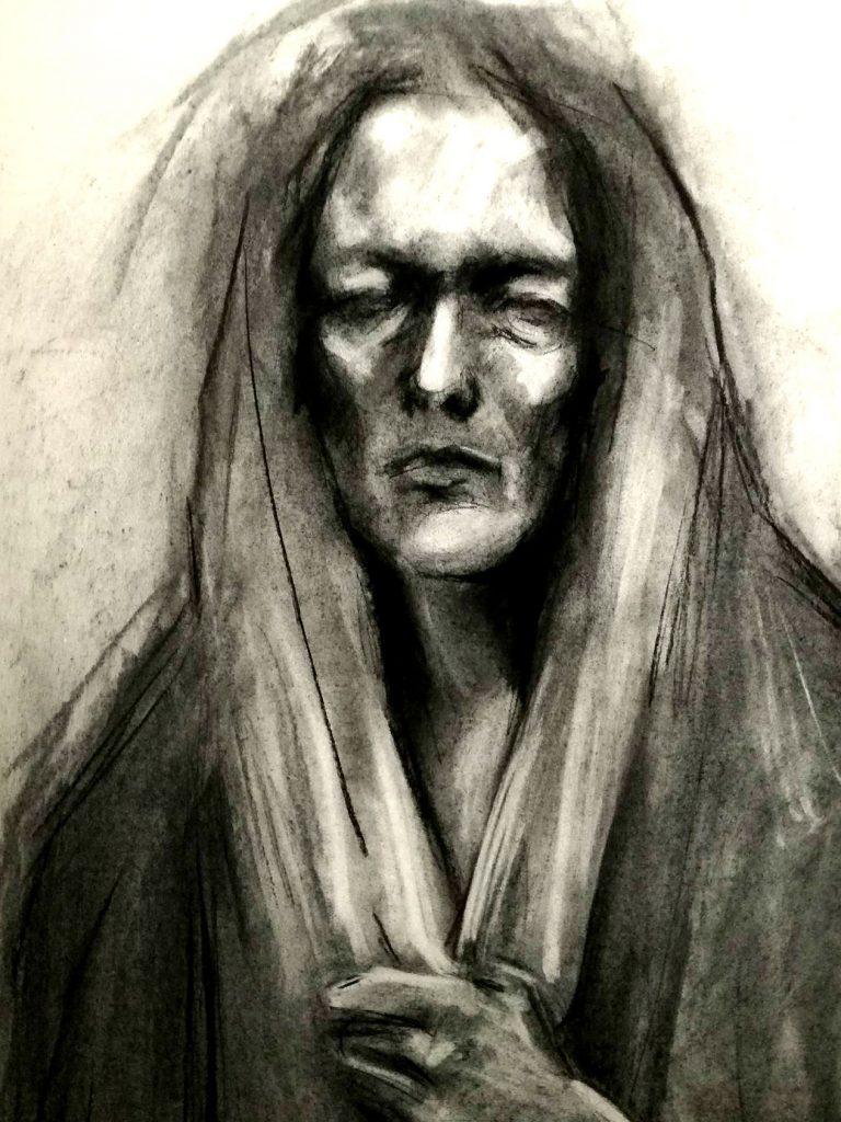 portret węgiel