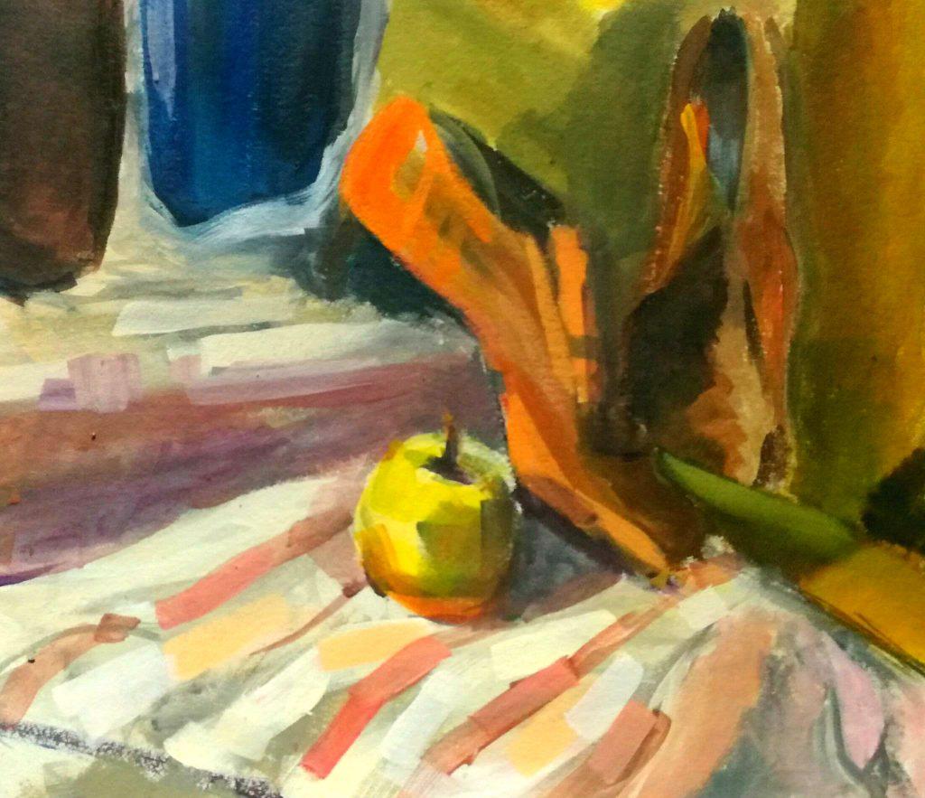 Szkic malarski szybkie studium butów i jabłka.