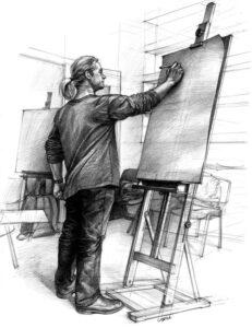 Rysowanie postaci na sztaludze